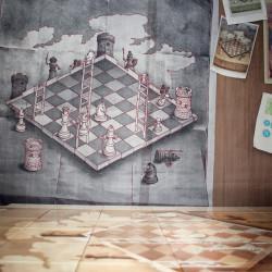Керамичекое панно шахматы в ванной