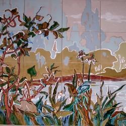 пейзаж из керамики на фасаде