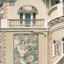 керамическое панно с цветами